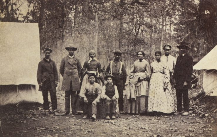 A group of escaped slaves working for the Union Army (courtesy of the US Military History Institute)